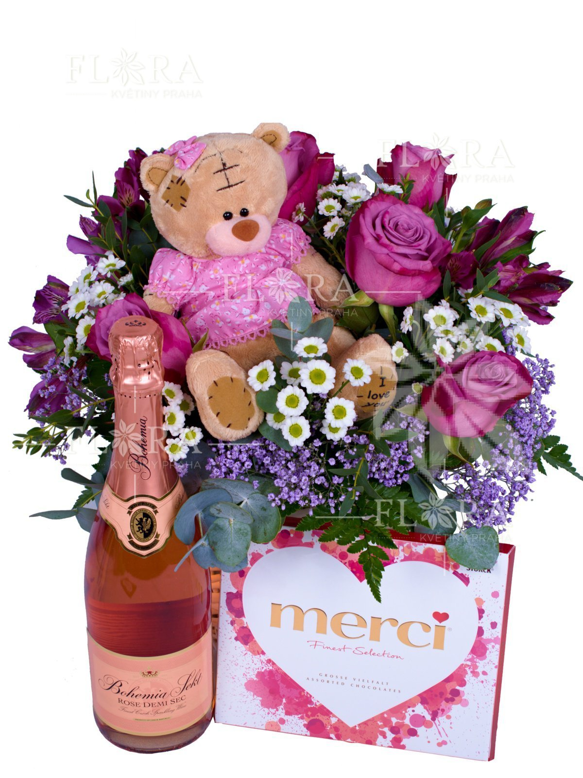 Flower basket violet merci a bottle of champagne mixed bouguet discount 100 k on your next purchase flower set beautiful flower basket izmirmasajfo