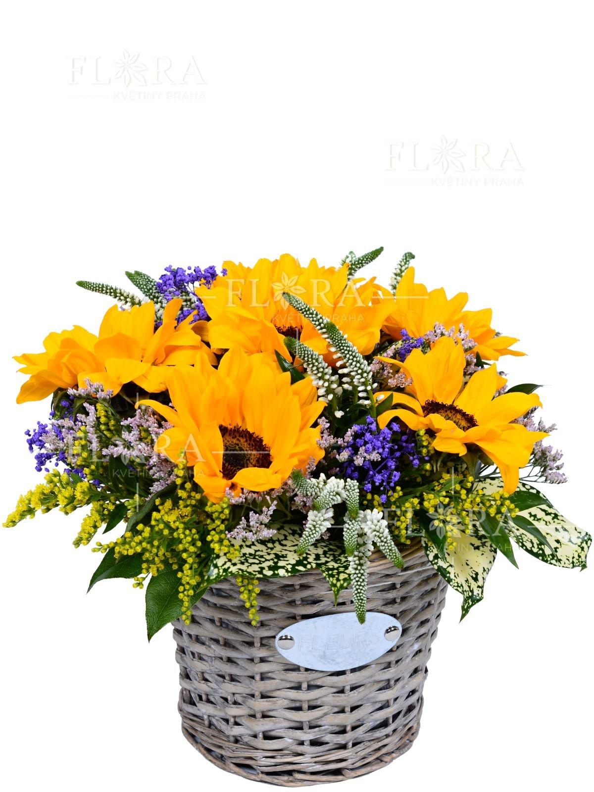 Flower basket sarah mixed bouguet and sunflowers flora kvtiny praha discount 100 k on your next purchase beautiful flower basket izmirmasajfo